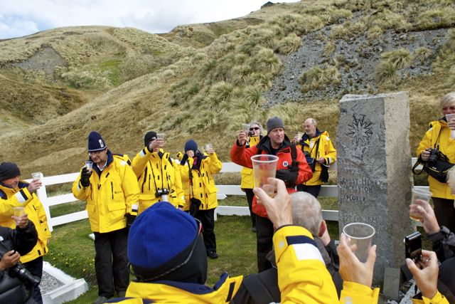 Drinking a toast to 'The Boss', Ernest Shackleton at Grytviken, South Georgia Island with Rick, the sexy historian